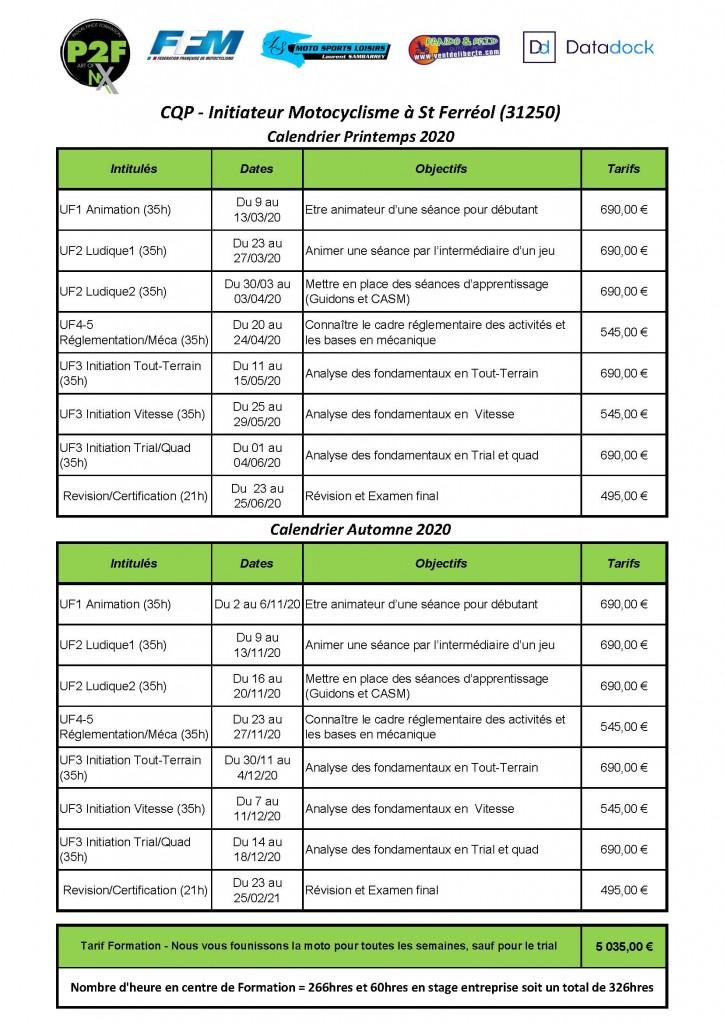 Calendrier CQP 2020