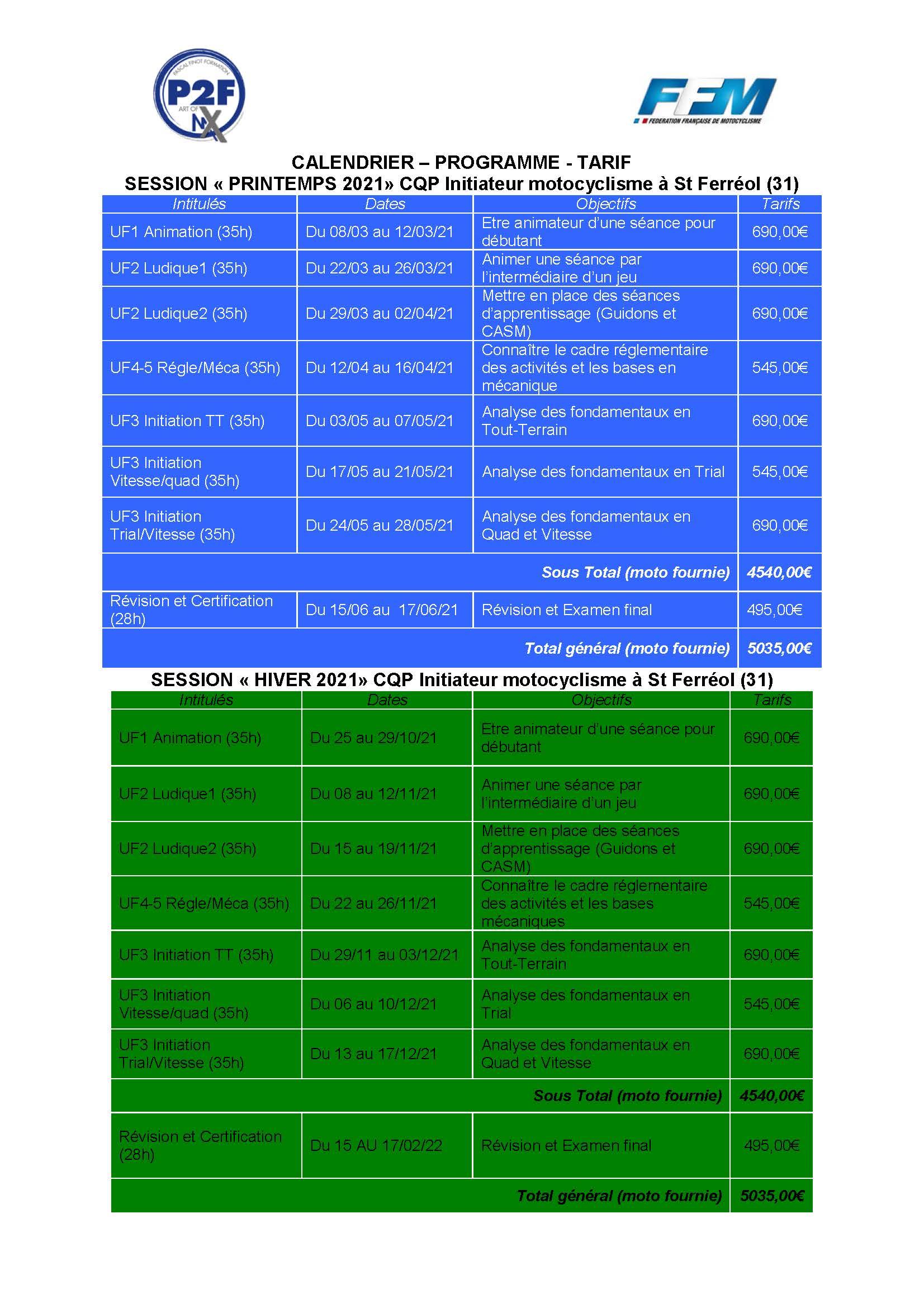 Calendrier CQP Init 2021