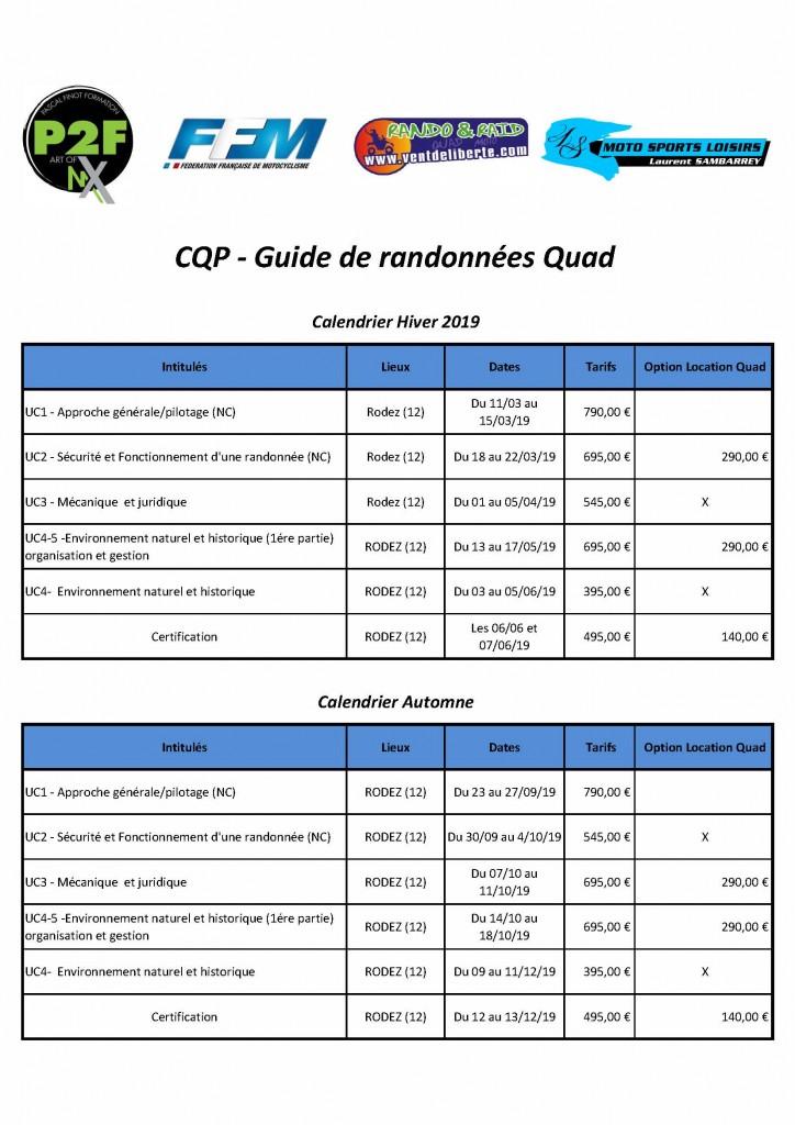 Calendrier CQP Quad hiver 2019
