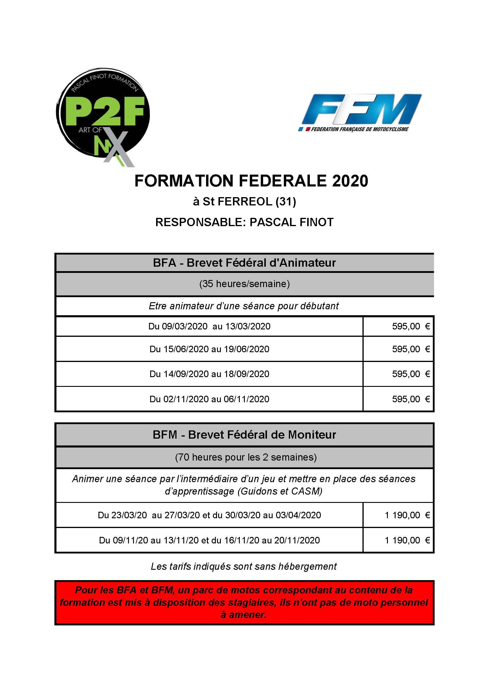 Calendrier Formation FFM 2020