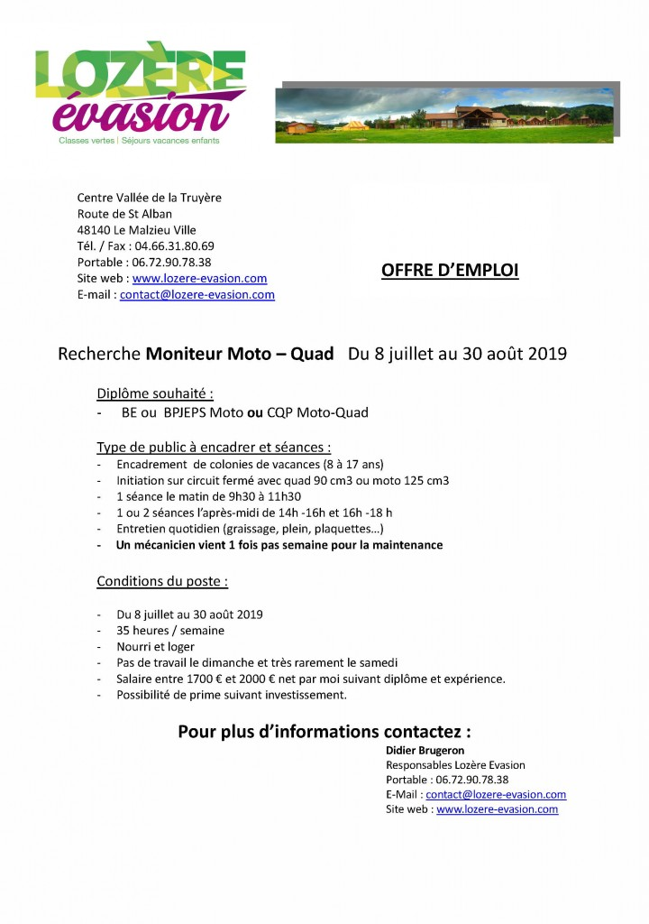 offre d'emploi moto quad