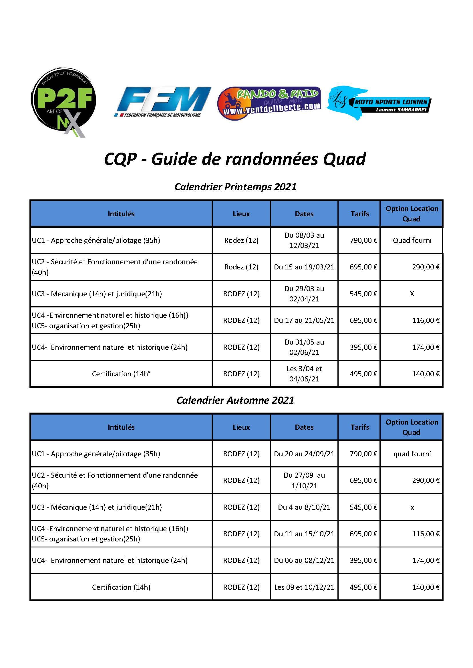 Calendrier CQP Quad 2021